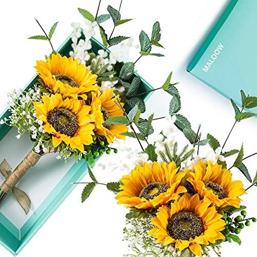 MALOOW - Bouquet di girasole, decorazione per la casa, fatto a mano, per matrimoni, feste, decorazioni per la casa (bouquet di fiori di girasole, 1)