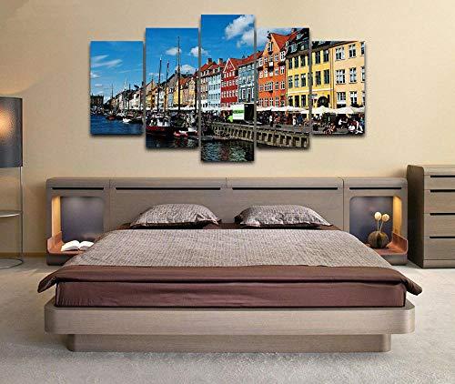 5 Panel Impresión en Lienzo Copenhague, Dinamarca 5 Cuadros Modernos Impresión de Imagen Artística Digitalizada | Lienzo Decorativo para Salón o Dormitorio