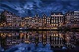 Pintura De Bricolaje Por Números Kits De Pintura Al Óleo Lienzo Pintura Holanda Patrón Del Río Amsterdam Para La Decoración De La Pared Del Hogar 40x50cm