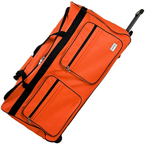 Deuba Bolsa de Viaje XXL 85x43x44 Maleta Naranja 160L con 3 Ruedas y Candado Mango telescópico extraíble Bolso Deportivo