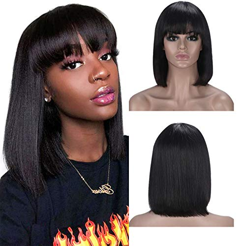Straight Bob Perücke Echthaar 100% unbehandeltes Brasilianisches Haar Perücke für schwarze Frauen Straight Human Hair Wigs With Bangs 130% Dichte Naturschwarz Echthaar Perücke 14'