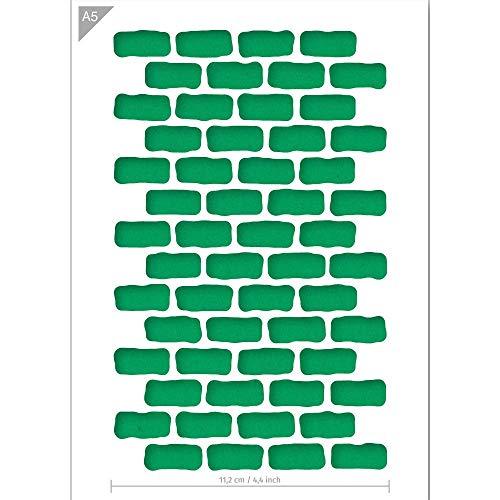 QBIX Ziegel Schablone - Ziegel Muster - Rechteck Muster - Muster Schablone - A5 Größe - Wiederverwendbare Kinder freundlich DIY Schablone zum Malen, Backen, Basteln, Wand, Möbel