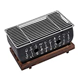Charcoal BBQ Grill Japanese-style, Portable Yakiniku Grill Rectangle with Wire Mesh Grill & Hollowed Base, Tabletop Barbecue Mud Furnace