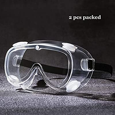 Medical Protective Safety Goggles,Anti-Fog Goggles Protective Eyewear Surgical Against Liquid Splash Shield (2 packed with vents)