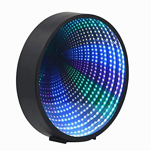 Half & Half Lámpara de túnel de espejo creativo, 3D con espejo infinito con señal LED, círculo, luces 3D, gran regalo para habitación de los niños, fiesta/decoración del hogar