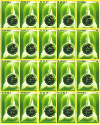 Nintendo 20 Basic Grass Energy Pokemon Cards Green/Leaf/Bug-Type (XY/Black and White Series Design, Unnumbered)