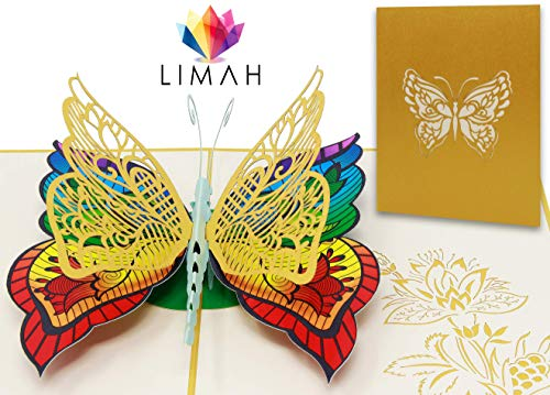 LIMAH® Pop Up 3D Schmetterling-Karte, Glückwunschkarte, Freundschaftskarte, Geschenkkarte, Geburtstagskarte, Überraschungskarte für Jungen und Mädchen (Gelb)