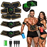 EGEYI Abs Trainer Abdominal Belt,EMS Muscle Stimulator with LCD Display & USB Rechargeable,Ab Belt Toning Gym Workout Machine For Men & Women