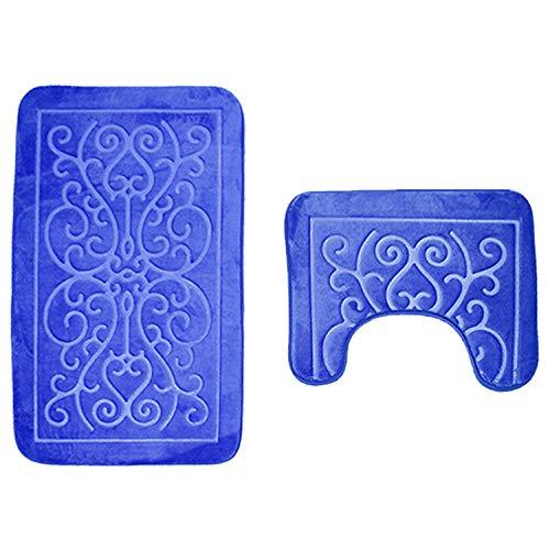 WDDGPZYD WC-Matte 3D Gaufrage 2 Pcs Tapis De Bain Set Flanelle Toilette Tapis Anti-Slip Salle De Bains Tapis De Sol U-Forme Tapis Salle De Bains Tapis
