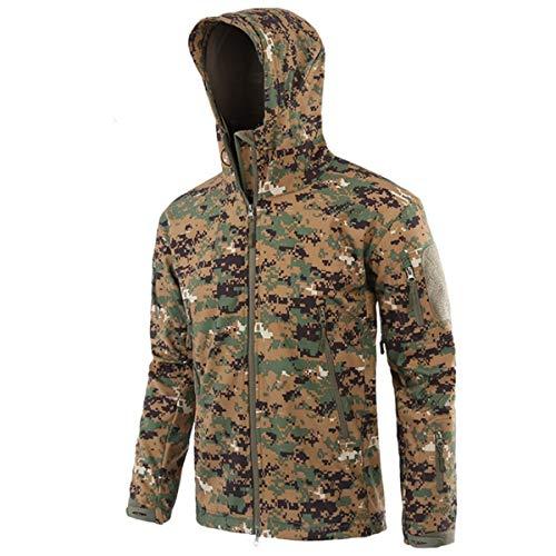 KALUNBS Hombres Invierno Tactical Abrigos Softshell con Capucha Militar Impermeable Cortaviento Engrosado Fleece Outdoor Trekking Montaña Esqui Camuflaje Chaqueta