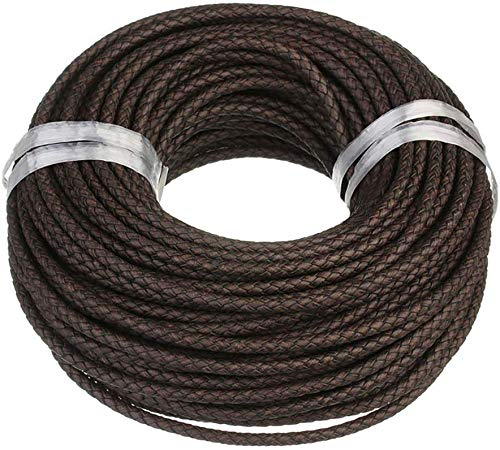 Lederen band gevlochten leren koord - diameter 4 mm - 7 mm/kleur bruin goud natuurlijk zwart/lengte 1 m - 100 m selecteerbaar Durchmesser 4mm / Länge 5m bruin