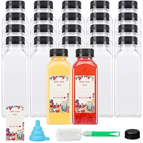 22pcs 12oz Plastic Juice Bottles with Caps, Reusable Plastic Bottles with Lids for Juicing Bottles, Smoothie Bottles and Other Beverages Containers