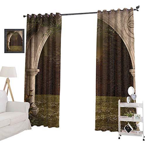 YUAZHOQI - Cortinas térmicas aisladas con arco antiguo en jardín renacentista pradera bosque, imagen oscura, cortinas opacas para dormitorio de niños de 132 x 160 cm, color verde y beige