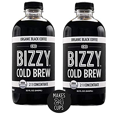 Bizzy Organic Cold Brew Coffee | Concentrate | Perfect for Protein Shakes & Smoothies | Makes 24 Cups, 32 Fl Oz (Pack of 2)