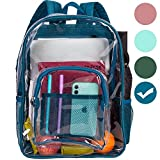 Clear Backpack, Transparent Backpacks Stadium Approved, Heavy Duty See Through Backpack - Blue