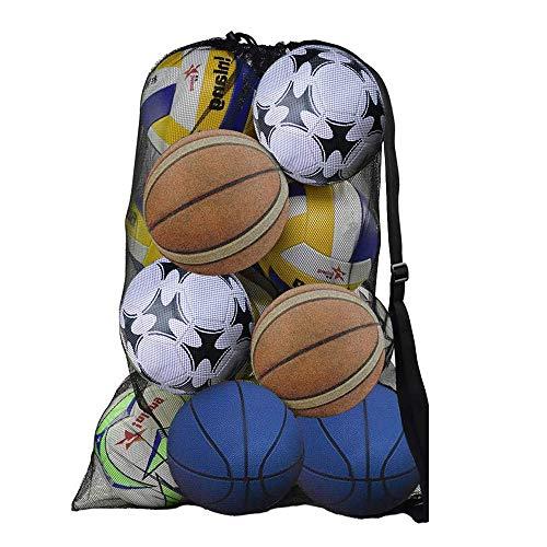 DECARETA Sacca in Rete per Palloni da Calcio Borsa a Sfera a Rete di Grande capacità Impermeabile Tracolla Tappeto Palla da Calcio Rete per palloni da pallavolo (Nero)