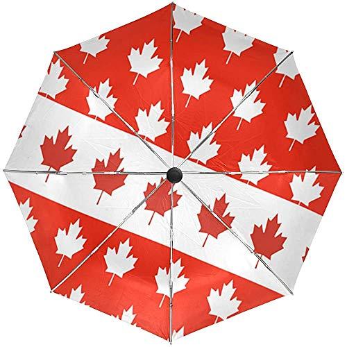 Bandera Canadiense Hoja de Arce Sol Lluvia Paraguas automá