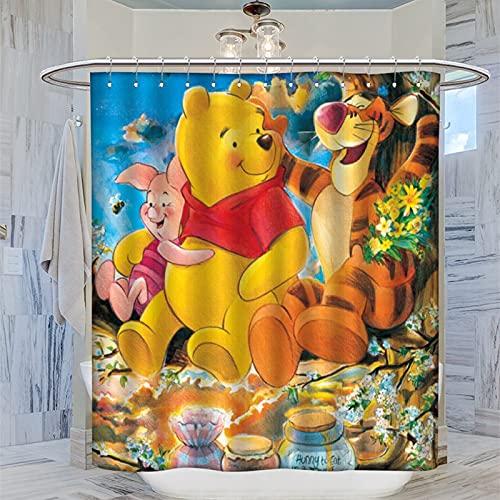 Winnie The Pooh Tigger Piglet Anime Duschvorhang 183 x 183 cm Wasserdicht Badvorhang mit 12 Kunststoffhaken Waschbar Badvorhang