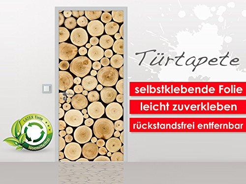 Deurbehang Wood Stump in het formaat 90 x 210 cm - zelfklevende premium folie - gemakkelijk te plakken zonder luchtbellen van trendy muren