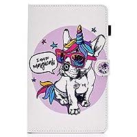 Galaxy Tab S5e 10.5 インチ 2019 タブレット SM-T720 T725 ケース、人気オシャレ可愛い綺麗 、カードスロット、滑り止めストリップ 、 ユニコーン犬
