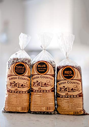 Product Image 7: Amish Country Popcorn | 3 – 1 lb Bags | Purple, Red and Blue Popcorn Kernels | Old Fashioned with Recipe Guide (3 – 1 lb Bags)