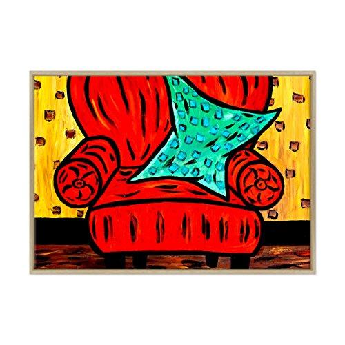 Bild auf Leinwand Canvas–Gerahmt–fertig zum Aufhängen–Stillleben Kubismus Stil Picasso Dimensione: 70x100cm B - Colore Legno Naturale Moderno