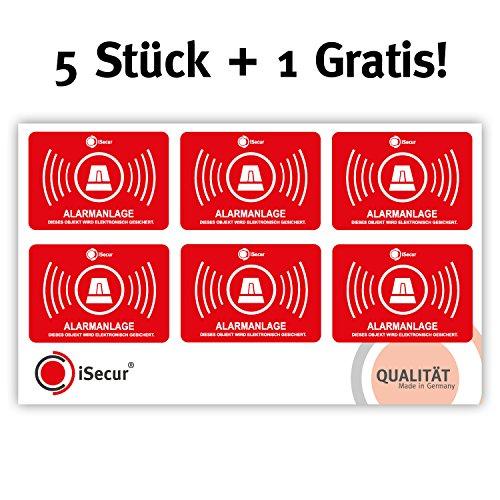 5-delige stickerset Alarmsysteem I hin_455 5x3,5 cm I Let op object wordt elektronisch alarm beveiligd I voor raam en deur I klevend aan de binnenkant