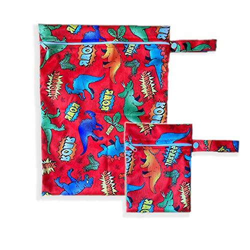 2er Set Wetbags mit süßen Motiven - wasserfeste wiederverwendbare Nasstasche mit Reißverschluss als Beutel und Organiser für Windeln Schwimmsachen Schmutz Wäsche Sportsachen (Rot - Dino)