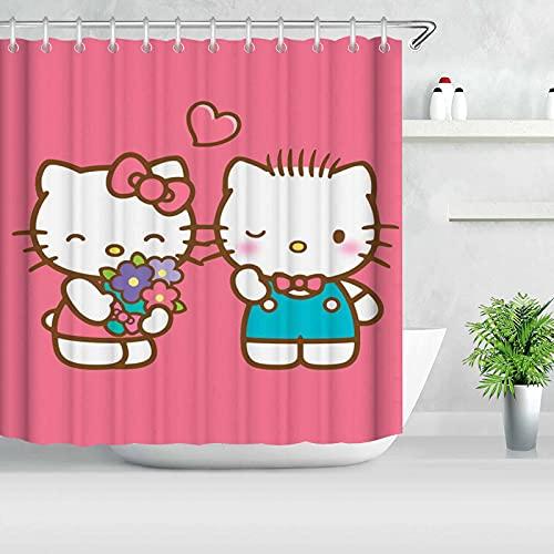 Bfrdollf Cartoon Hello Kitty Duschvorhang Badezimmer Dekor Exquisite Schimmelresistent Wasserdicht Extra Lang Badvorhang Mit 12 Haken (3,120×200cm)
