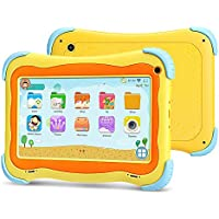 YUNTAB 7 Pulgadas Kids Tablet PC Q91 Juego y Aprendizaje Android 8.1 A50 1.5GHz Quad Core WiFi Doble cámara 3D Juego con Estuche para Tableta (Yellow)