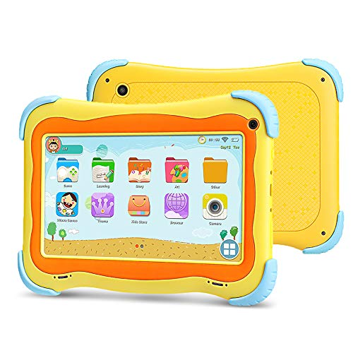 YUNTAB 7 Pulgadas Kids Tablet PC Q91 Juego y Aprendizaje Android 8.1 A50 1.5GHz Quad Core WiFi Doble cámara 3D Juego con Estuche para Tableta (Yellow)