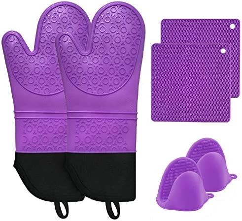 MTZRFLL Silicone Oven Mitts Set Extra Long Non Slip Heat Resistant Oven Gloves Come with 2 Cooking product image
