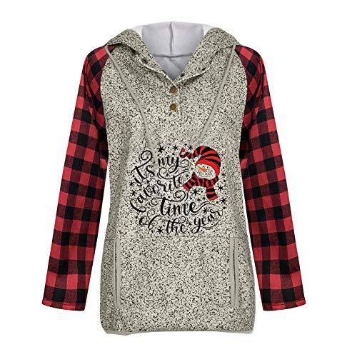 Rulufe Navidad Mujer Muñeco de Nieve Botones Sudadera con Capucha Bolsillo con cordón Sudadera 20201110019