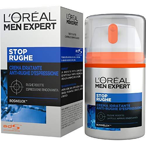 L Oréal Paris Men Expert Stop Rughe, Crema Idratante Anti-Rughe d Espressione, Con Boswelox, 50 ml