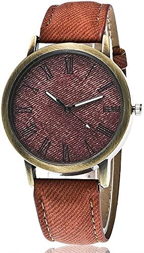 JZDH Reloj de Pulsera, Reloj de decoración de Bronce de Moda Vintage. Reloj Deportivo de Denim Strap Hombre.