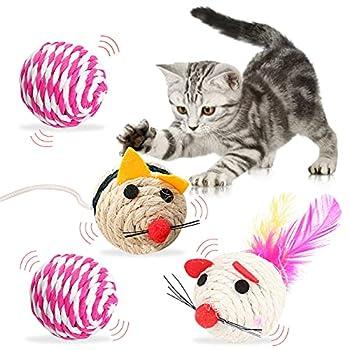 Jouets pour Chat Souris et Balle - simyron 4 pcs Animal Domestique Jouet Interactif,Balle en Sisal Chat,avec Queue en Plumes Souris,Jouet Chaton Interactif,Safe Pet Chew Toy