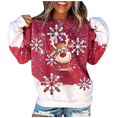 Dasongff Sweatshirt Femme Aesthetic Imprimé Renne T-Shirts à