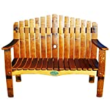 Central Coast Creations Wine Barrel Stave Garden Bench - Wine Barrel Handcrafted Wine Barrel Furniture