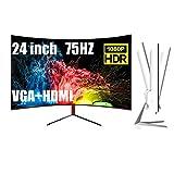 Curved Monitor 24 Zoll, Full HD (1920 X 1080P), 75 Hz, VGA, HDMI, Schwaches Blaues Licht, Flimmerfrei, PC Monitor 2 Ms Reaktionszeit, Kompatible HDMI Und VGA Eingänge,Schwarz,24 Inch
