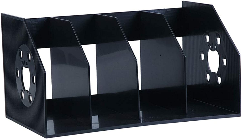 LQQGXLoffice Furniture Four-Speed Large Book Stand Storage Rack File Holder Magazine Rack Bookshelf Office Book Folder (color   Black)