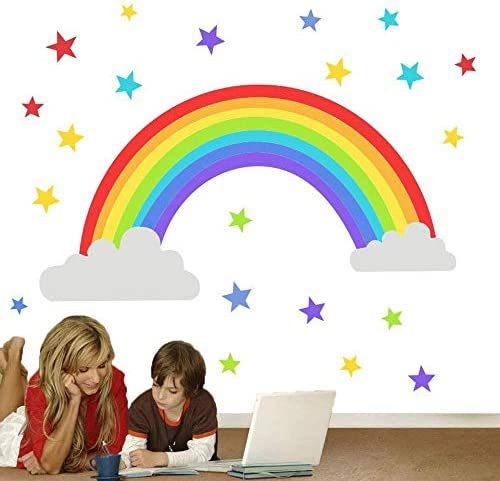 Colorful Rainbow Wall Decal Cloud Wall Sticker Colored Stars Wall Sticker for Kids Room Decor product image