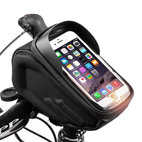 OEMC Bolsa para Cuadro De Bicicleta con Soporte para Teléfono, Bolsa para Teléfono De Bicicleta Impermeable con Visera De Pantalla Táctil para Teléfonos Inteligentes De Menos De 6 Pulgadas