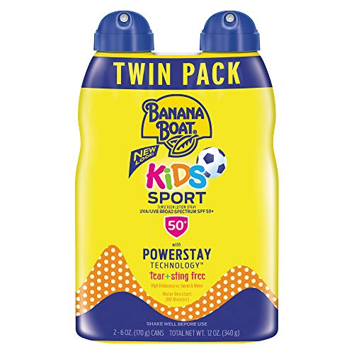 Banana Boat SPF 50 Sunscreen, Kids Sport Tear-Free, Sting-Free Broad Spectrum Sunscreen Spray, 6 Ounce - Twin Pack