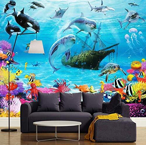 3D vliesbehang foto vlies premium fotobehang behang behang 3D cartoon onderwaterwereld wandschilderij gepersonaliseerde aanpassing kinderkamer milieuvriendelijk vochtbestendig fotobehang 350*245 350 x 245 cm.
