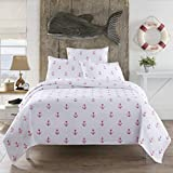Lamont Home Anchors Full/Queen Coverlet White/Red