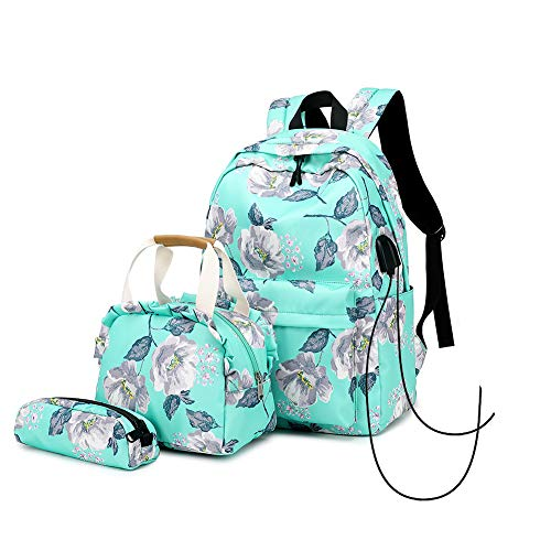Girls School Backpack Set Lightweight College MRYX Backpack with USB Charging Port Casual Travel Daypack for Teens Boys Student /Women Outdoor Travel Backpack - Green