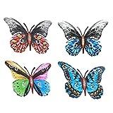 Dantazz Metall Schmetterling Dekoration 4PC Schmetterling Wanddeko 3D Wandskulptur Deko Wandkunst Handwerk Anhänger Ornament Gartendeko, für Wand Garten Hof Hochzeit Party Weinachten (Mehrfarbig)