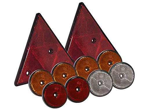 10 tlg Set Reflektoren rund und dreieckig mit Befestigungsloch orange weiß rot