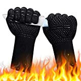 DUTOUE 1472℉Extreme Heat Resistant Oven Gloves,Food Grade Kitchen Oven Mitts,Professional Silicone Non-Slip Flexible BBQ Oven Gloves for Grilling,Baking(1 Pair,Black,13 Inch)
