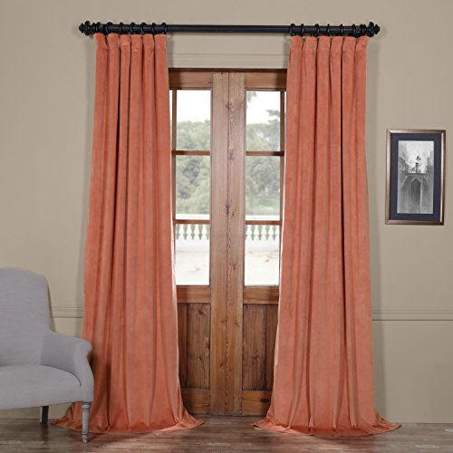 IYUEGO Pinch Pleat Solid Velvet Lining 90% Blackout Curtain Thermal Insulated Patio Door Curtain Panel Drape for Traverse Rod and Track, Desert Coral 150W x 102L Inch (Set of 1 Panel)